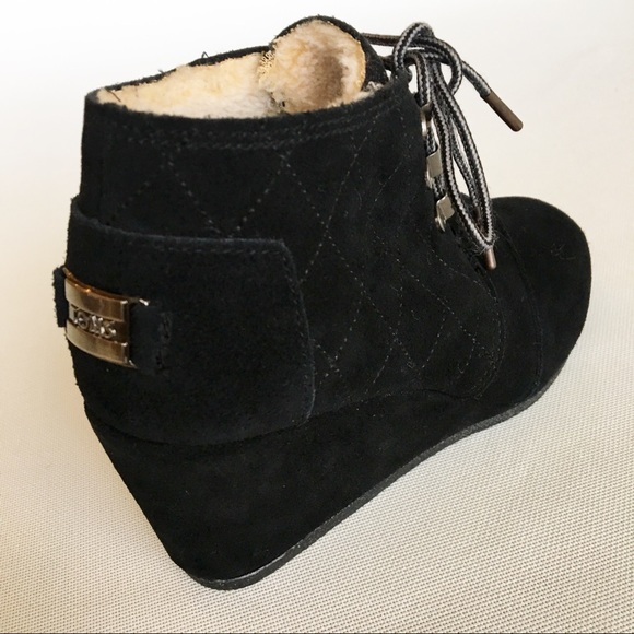 4fbbf837c44 TOMS Black Suede Wedge Booties Size 5 1 2